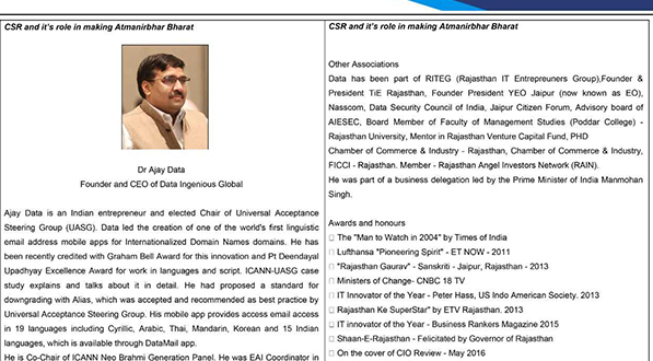 CSR and its role in making Atmanirbhar Bharat.