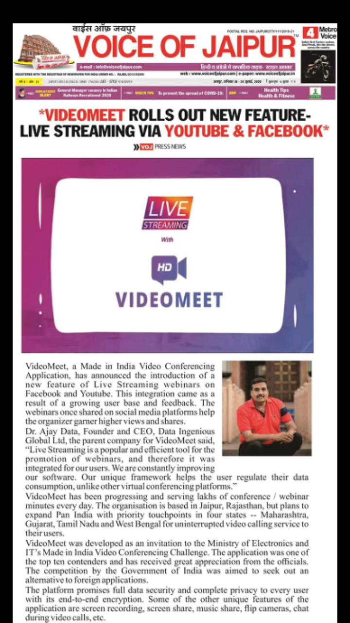 Data Ingenious Global Limited Offers Videomeet App