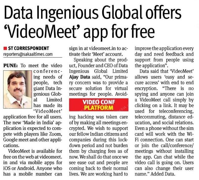 Data Ingenious Global Limited Offers Videomeet App For Free